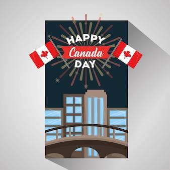 Happy canada day card montreal cidade bandeiras fogos de artifício