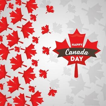 Happy canada day red maple folhas cartão de queda