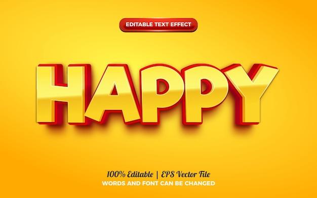Happy cartoon kids efeito de texto editável em 3d