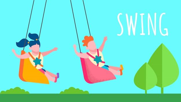 Happy childhood memories flat swing banner de texto