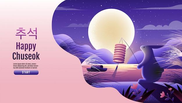 Happy chuseok, festival de meados do outono. coelhos, festival da lua, ação de graças na coréia, ilustração vetorial.