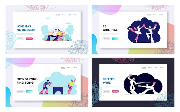 Happy couples sports, dating activity website landing page set