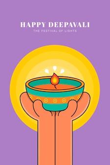 Happy deepavali, o festival de luzes de fundo