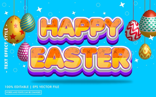 Happy easter text effects style