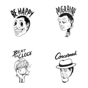 Happy emocionado emoção expressões sentimentos graphic icon ilustração