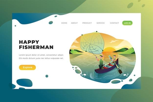 Happy fishermen - vector landing page