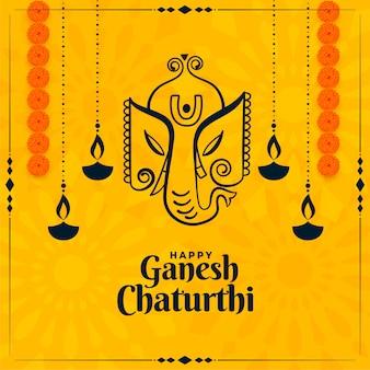 Happy ganesh chaturthi festival indiano cartão amarelo