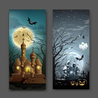 Happy halloween abriga coleções com ilustrações vetoriais de fundo vertical.