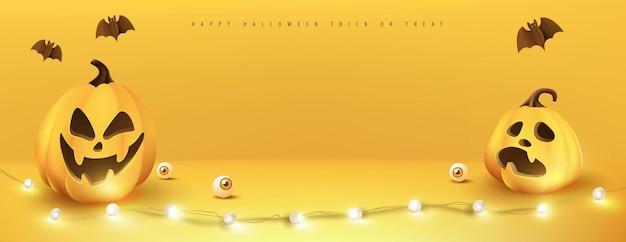 Happy halloween banner display de produtos de sala de estúdio com espaço de cópia e elementos festivos de abóboras