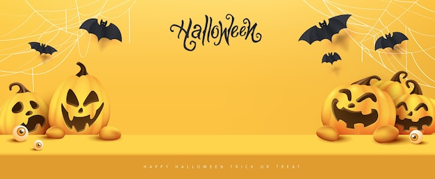 Happy halloween banner studio mesa de exibição de produtos com espaço de cópia