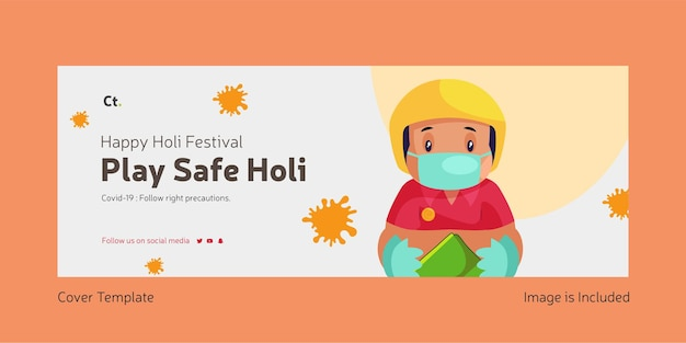 Happy holi play safe holi facebook template page template design