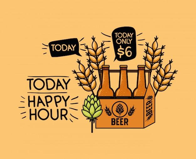 Happy hour cervejas rótulo com garrafas no cesto