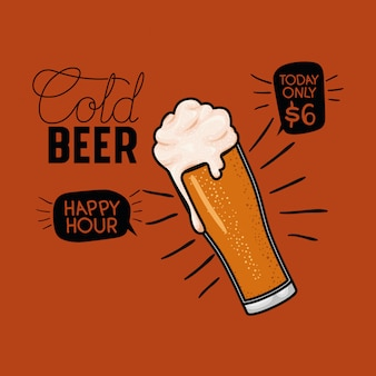 Happy hour cervejas rótulo com vidro