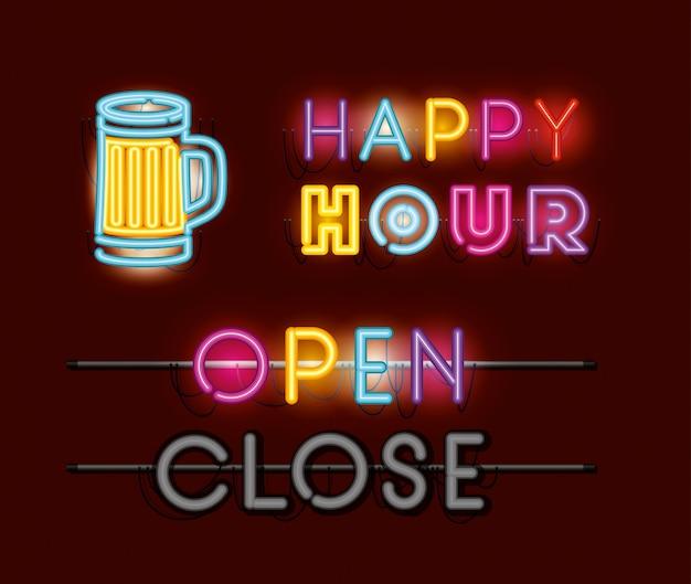 Happy hour com cerveja jar fontes neon luzes