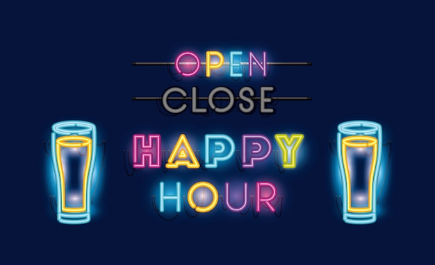 Happy hour com cervejas jarras fontes luzes de néon