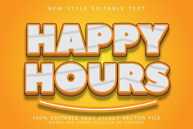 Happy hour com efeito de texto editável em relevo estilo moderno