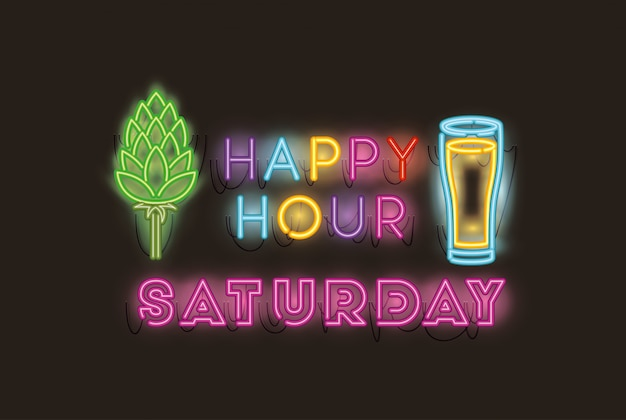 Happy hour com luzes de neon em cerveja e vidro