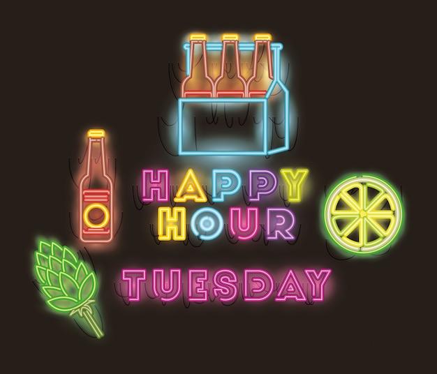Happy hour de sexta-feira com garrafas de cervejas em fontes de cesta luzes de néon