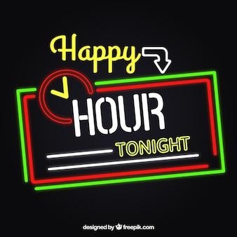 Happy hour luzes de néon sinal