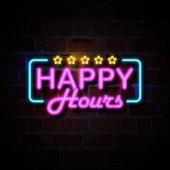 Happy-hour, néon, estilo, sinal, ilustração