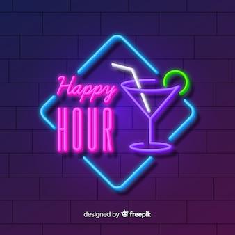 Happy-hour sinal de néon com cocktail