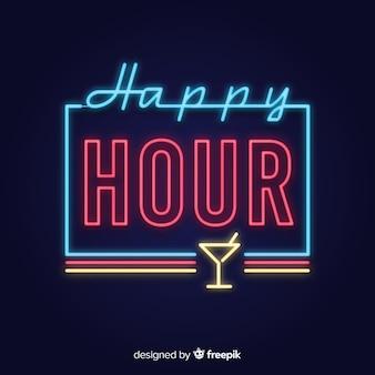 Happy-hour sinal de néon com copo de vidro