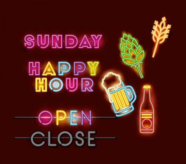 Happy hour with bar set ícones luzes de néon