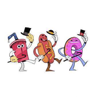 Happy junk food andando e cantando