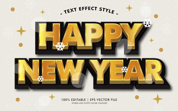 Happy new year black gold effects style