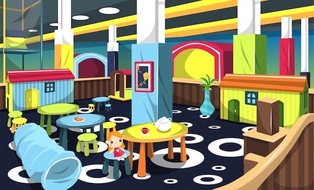 Happy playground cafe e comida para crianças e família com brinquedos