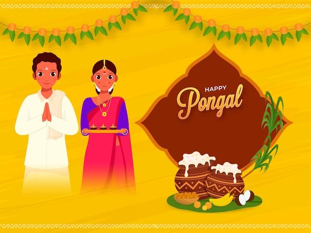 Happy pongal concept com saudação de casal do sul da índia, prato tradicional em potes de lama
