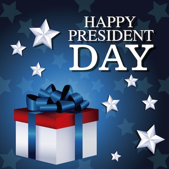 Happy president day gift box presente star background