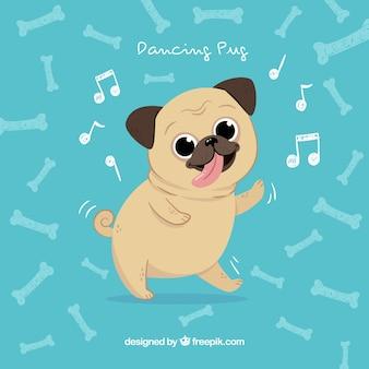 Happy pug dancing com estilo desenhado à mão