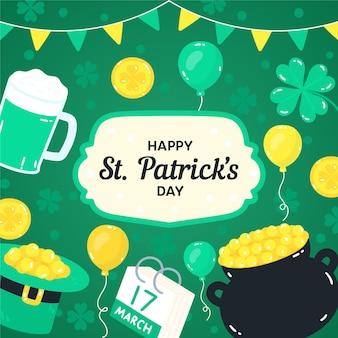Happy st. patrick's day desenhado à mão com trevos