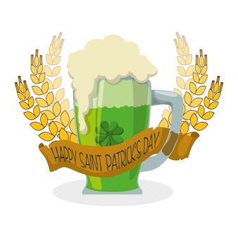 Happy st patricks day mug fita de trigo de cerveja verde