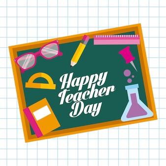 Happy teacher day card escola de elementos de quadro