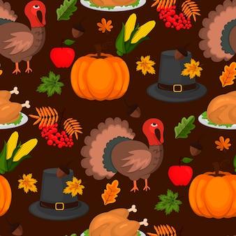 Happy thanksgiving celebration design desenho animado outono saudação colheita temporada férias sem costura padrão fundo ilustração vetorial. jantar de comida tradicional sazonal graças dando cartaz.
