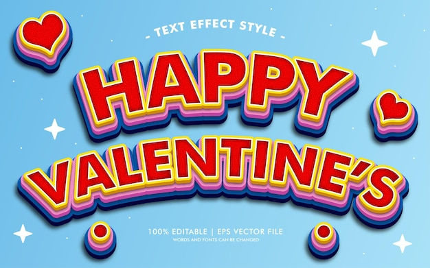 Happy valentine's text effects style