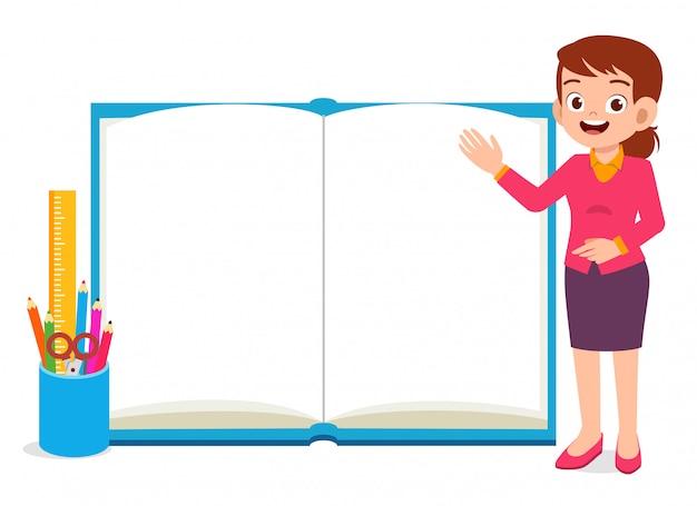 Hapy jovem professor com livro e lápis