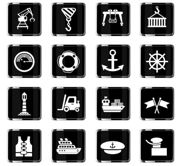 Harbor ícones da web para design de interface de usuário