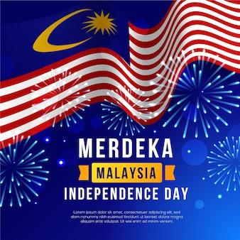 Hari merdeka com bandeira e fogos de artifício