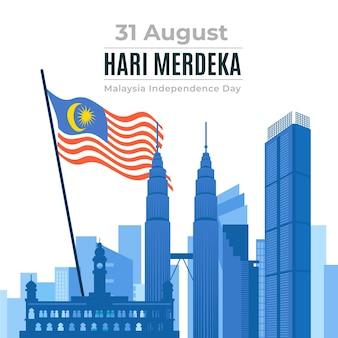 Hari merdeka com edifícios e bandeira
