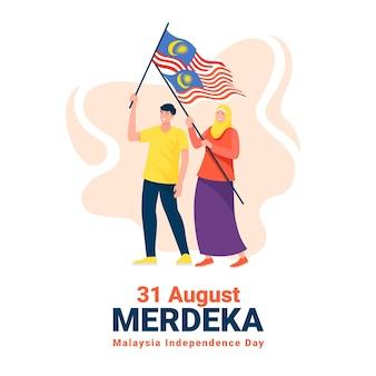 Hari merdeka com pessoas segurando bandeiras