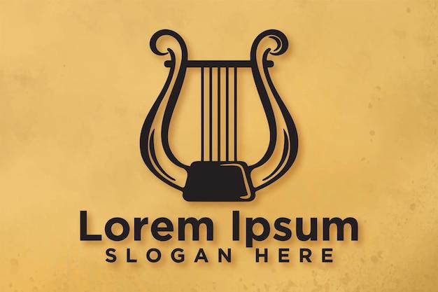 Harpa, design de logotipo musical, ilustração vetorial