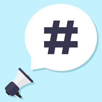 Hash tag, megafone e bolha de bate-papo
