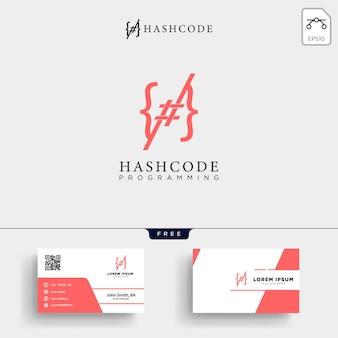 Hashtag e modelo de logotipo de código de programação