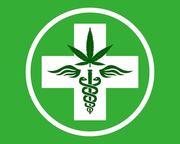 Haste de símbolo de maconha medicinal com cobras e asas agente terapêutico kanabis farmácia