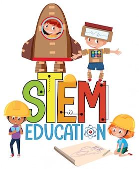 Haste logotipo de educação com crianças vestindo fantasia de engenheiro isolada