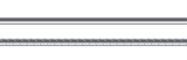 Hastes de metal em fundo branco, vergalhão de aço reforçado. armadura de construção, barras de aço inoxidável para construção, gaiola, rack ou grade. ilustração vetorial realista
