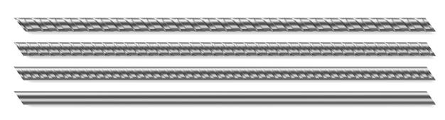 Hastes metálicas, vergalhões reforçados com aço